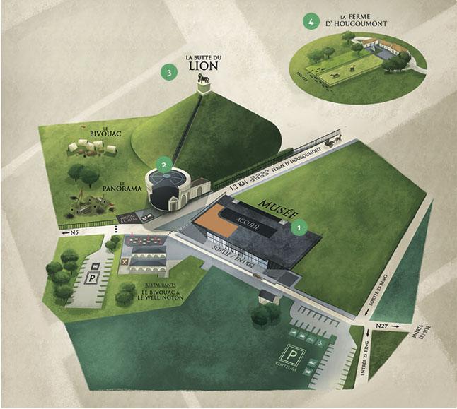 carte du site Memorial bataille de Waterloo